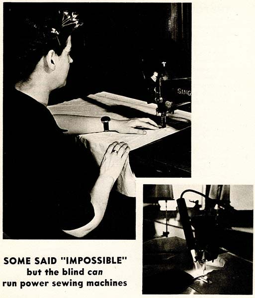 A white woman with a decorative hair piece and a braid down and around her head sews a large rectangular piece of fabric using a Singer sewing machine. A second, smaller image shows a small torch-like object that is illuminating the machine needle.