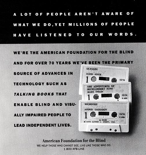 AFB advertisement for Talking Books with an image of 3 cassette tapes for