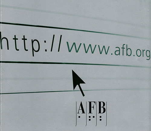 A computer screen showing an enlarged arrow cursor pointing at the web address www.afb.org, with the AFB logo visible below.