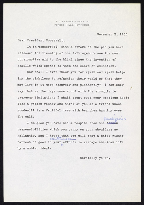 An unsigned, typewritten letter, including two handwritten corrections, on white letterhead.
