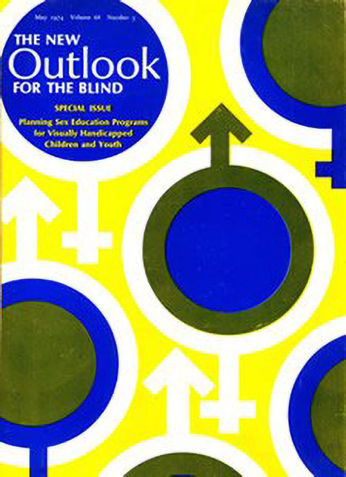 Cover of The New Outlook for the Blind issue on planning sex education programs for children and youth with visual impairments. The cover has the male symbol, of a circle with an arrow and the female symbol of a circle with a cross. These graphics are in blue, green, yellow and white.