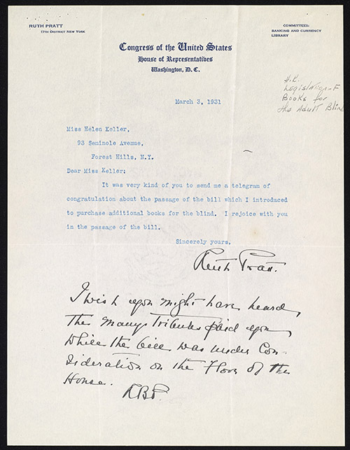 A signed, typewritten letter on Congressional letterhead with a handwritten note at the bottom. The letterhead identifies Ruth Pratt as the representative of the 17th district of New York and is dated March 3, 1931.